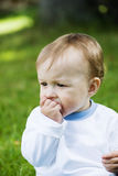 Little boy. The little thinking boy outdoors royalty free stock photography