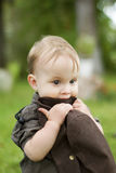 Little boy. With the hat outdoors stock image