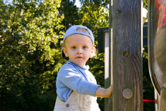 The little boy. Portrait of the boy on the playground Royalty Free Stock Image