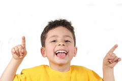 Little boy. Playing, on white background Stock Photography