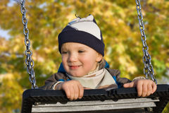 Little boy. Little blond caucasian boy (2,5 years old) playing outside Royalty Free Stock Images