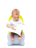 Little boy. The little boy sits on a chamber-pot and reads the book Royalty Free Stock Photo