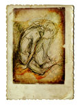 An little boy. Expressively drawn figure of a tired little boy - pencil drawing Stock Images