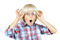 Little boy. Little children boy gaily  astonished stare on camera  above glasses , on white background Stock Photos