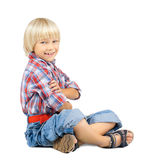Little boy. The little children boy slyly smile, sit on white background stock images