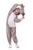 Little boy. Baby dressed in a elephant costume on white background Royalty Free Stock Image