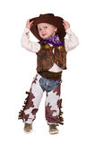 Little boy. Little funny cowboy isolated on white background Royalty Free Stock Photography