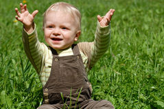 The little boy. Plays on a green grass Royalty Free Stock Photography