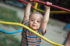 Little boy. Playing at playground Royalty Free Stock Image
