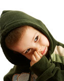 The little boy. Portrait of the thoughtful boy on a white background Royalty Free Stock Photos