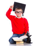 Little boy in academic hat Royalty Free Stock Image