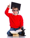 Little boy in academic hat Stock Photos