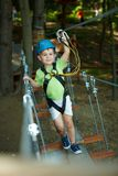 Little boy in adventure park Stock Photos