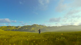 Little boy with airplane on green meadow, morning haze, panning. Hd video stock video