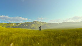 Little boy with airplane toy on a green meadow, beautiful morning. Hd video stock video