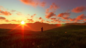 Little boy with airplane toy on a green meadow, beautiful sunset. Hd video stock video footage