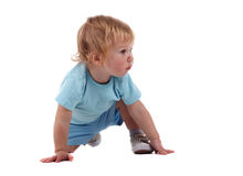 A little boy on all fours. Isolated on the white stock photos