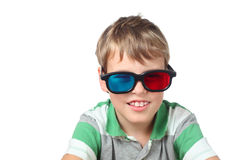 Little boy in anaglyph glasses isolated Royalty Free Stock Photos