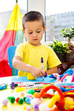 Little Boy And Creativity Stock Photo