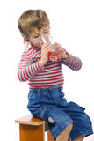Little Boy And Juice Stock Images