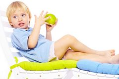 Little boy with apple Royalty Free Stock Photography
