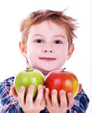 Little boy with apple. Stock Photo