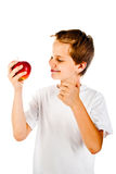 Little boy with apple Stock Photo