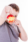 Little boy with apple Royalty Free Stock Photo