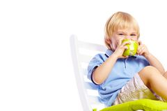 Little boy with apple isolated Stock Image