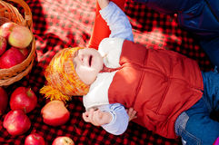 Little boy with apple in  park Royalty Free Stock Images