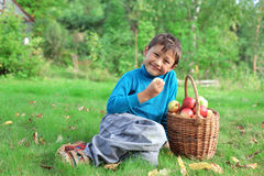 Little boy with apples Royalty Free Stock Photo