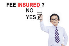 Little boy approving with fee insured Royalty Free Stock Photography