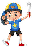 Little boy with armour and sword. Illustration Stock Photos