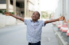Little boy feeling free. Royalty Free Stock Images