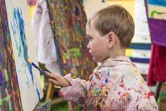 Little boy in art class Royalty Free Stock Photo