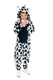 Little boy as cow drinking milk Royalty Free Stock Images