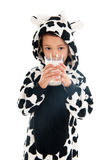 Little boy as cow drinking milk Stock Photos