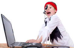 Little boy as a data pirate. Was caught Royalty Free Stock Images
