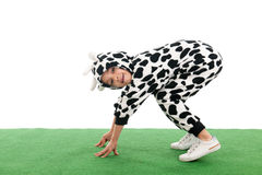 Little boy as happy cow in the meadows Royalty Free Stock Images