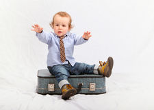 Little boy as traveler Stock Image