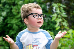 Little boy asks why. A little boy with large glasses asks why Royalty Free Stock Photo