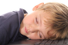 Little boy asleep at the computer Stock Photos