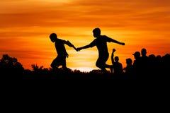 Little boy athletes run Stock Photo