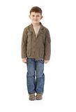 Little boy in autumn clothes smiling royalty free stock image