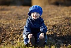 Little boy in autumn park Stock Photo