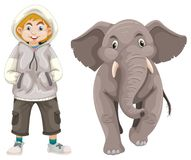 Little boy and baby elephant. Illustration Royalty Free Stock Photo