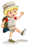 Little boy with backpack going camping Royalty Free Stock Photo