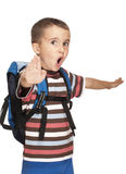 Little boy with backpack pretends Stock Photography