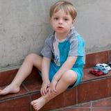 LIttle boy in the backyard Royalty Free Stock Photo