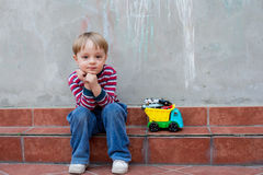 LIttle boy in the backyard Royalty Free Stock Photography